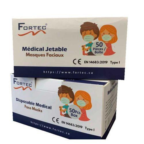 Children's Medical Face Mask Pink 50pcs/box - Type I EN 14683:2019